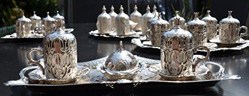 Akmetal Orientalischer Mokka-Kaffee Set 11-teilig mit Tulpendesign, Mokkaservice, Mokkaset,...
