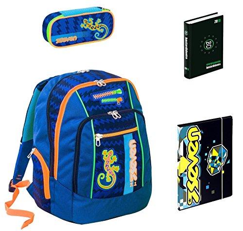 Seven Zaino scuola advanced Gecko BOY blu + portapenne + Diario BD + Cartellina A4