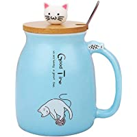 Cat Mug Cute Ceramic Coffee Cup with Lovely Kitty lid Stainless Steel Spoon,Novelty Morning Cup Tea Milk Christmas Mug…