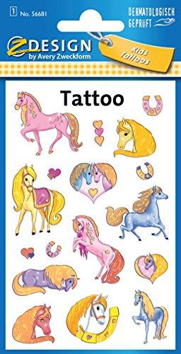 Avery Zweckform 56681 Kinder Tattoos Pferde (temporäre Transferfolie, dermatologisch getestet) 17 Aufkleber Test