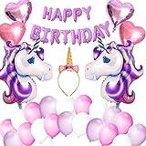 VSTON Einhorn Ballons Mädchen Happy Birthday Party Dekoration Banner mit Einhorn Folienballons Stirnband Herzförmige Ballons Set für Mädchen Kinder Kinder Schöne Rosa Lila Thema