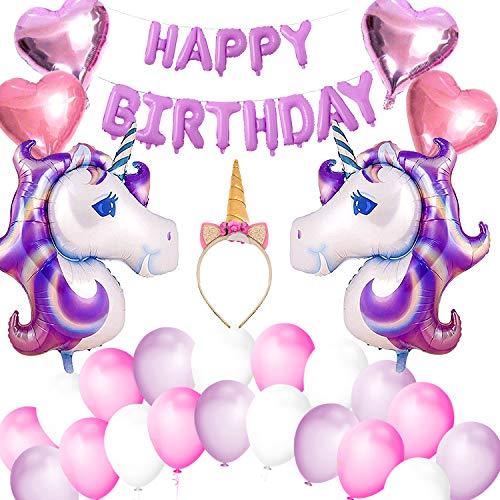 (VSTON Einhorn Ballons Mädchen Happy Birthday Party Dekoration Banner mit Einhorn Folienballons Stirnband Herzförmige Ballons Set für Mädchen Kinder Kinder Schöne Rosa Lila Thema)