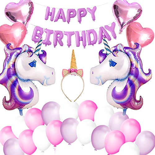 VSTON Unicornio Globos Niñas Feliz Cumpleaños Fiesta Decoración Bandera con Unicorn Lámina Globos Diadema en Forma de Corazón, Globos, Fijado, para Niñas Encantador Rosa Púrpura Tema