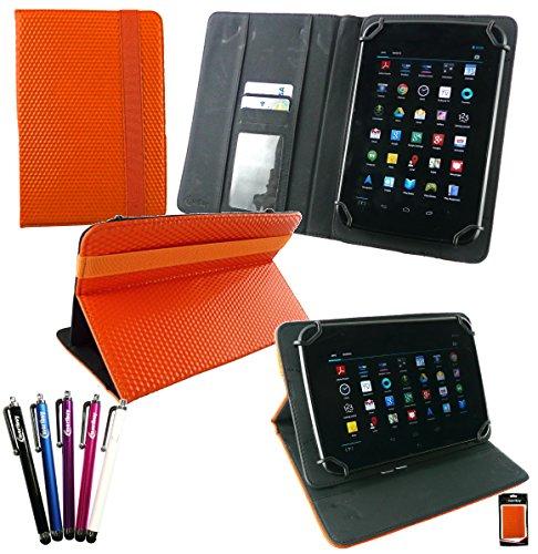 emartbuy Bündel von 5 Eingabestift + Universalbereich Orange 3D Cube Multi Winkel Folio Executive Cover Wallet Hülle Schutzhülle mit Kartensteckplätze Geeignet Für I.onik TP - 1200QC 7.85 Zoll Tablet