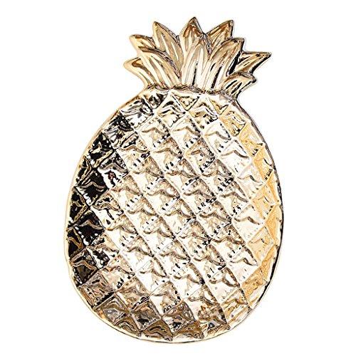 FLAMEER Keramik Teller Schüssel 3D Ananas Design Ring Veranstalter Schmuck Tablett - Gold