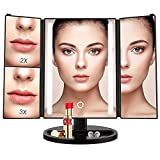 BESTOPE 24 Led Makeup Mirror 15 inch Larger Vanity Mirror with 3x/2x Magnification,Dimmable Light,Touch Screen,180� Adjustable Rotation,Battery and USB Powered,Countertop Cosmetic Mirror