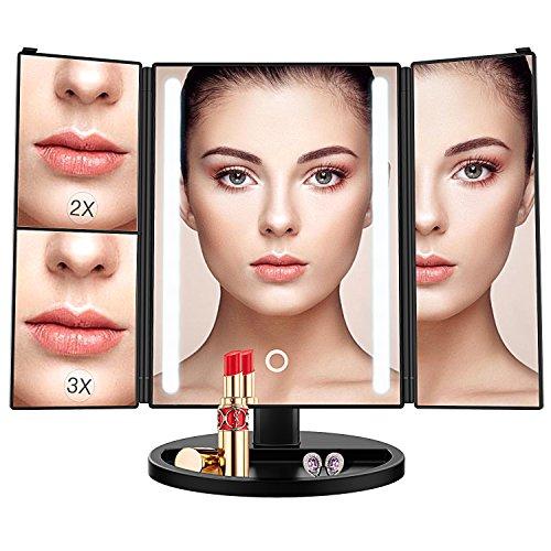 Espejo Maquillaje,BESTOPE 17 Pulgadas Espejo Cosmético,Luz ajustable con 24 LED,Tríptica Aumentos 1X, 2X, 3X, Rotación ajustable de 180 °, fuente de alimentación doble, espejo cosmético encimera