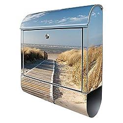 Banjado Design Briefkasten mit Motiv Dünen | Stahl pulverbeschichtet mit Zeitungsrolle | Größe 38x47x14cm, 2 Schlüssel, A4 Einwurf, inkl. Montagematerial