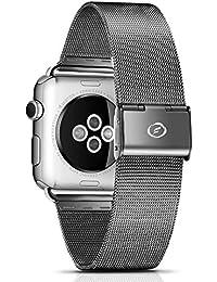 Apple Watch Banda Series 1 & 2, FUTLEX de 42mm , Banda para la muñeca de acero inoxidable, repuesto de correa con broche para Apple Watch - Negro - Adaptadores Incluidos