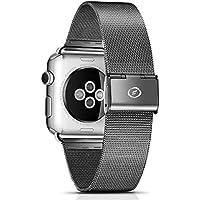 Cinturino per Apple Watch Series 1 & 2, FUTLEX 38mm Ricambio Cinturino (Adattatori inclusi) in Acciaio Inossidabile con Chiusura in Metallo per Apple Watch - Nero - 4 Link Bracciale In Oro