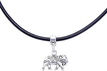 4youquality - Cordoncino in vera pelle, girocollo con pendente retrò e hippy in argento tibetano, per donne/ragazze, colore: nero