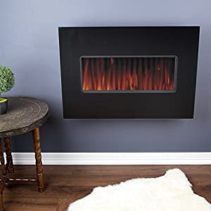 Wall Mounted Gas Fire with Optiflame Effect - 4KW - Black Finish