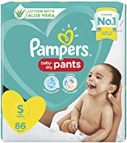 Pampers All round Protection Pants, Small size baby diapers (SM), 86 Count, Anti Rash diapers, Lotion with Alo