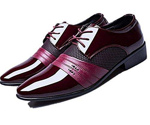 Punk Family 09 - Zapatos de Cordones de Cuero para Hombre Negro...