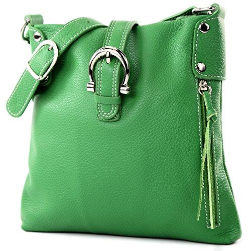modamoda de - ital Umhänge-/Schultertasche aus Leder T04, Farbe:Grün Grüne Tasche