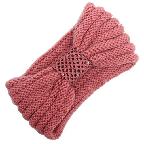 Saingace Frauen-strickendes Stirnband-handgemachtes halten warmes Hairband neue Mode Headbands Haar Band Kopftuch Stirnband (Rosa) (Tennis-bogen)