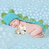 Smarstar - Disfraces Trajes Apoyo de Fotografía de Punto de Ganchilo para Bebés Recién Nacidos Niños Niñas - Dinasaurio - Azul Verde