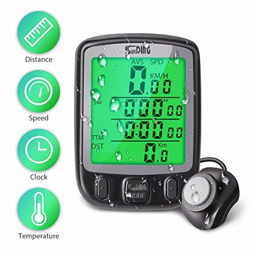 Fahrradcomputer Kabellos, radcomputer fahrradtacho tacho fahrrad Tachometer mit wasserdicht ,Uhr, Temperaturanzeige, Hintergrundbeleuchtung,18 Datensatz, Batterieanzeige und andere Funktion für Ttracking Geschwindigkeit und Distanz
