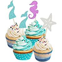60 púas decorativas para cupcakes con purpurina de Meimaid para decoración de pasteles, para baby