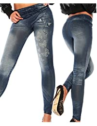 Femmes Leggings Jeans Pantalon Yoga de Sport Stretch Taille Haute Jeggings  Bleu 0e94b15011a