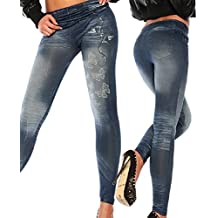 8769d2a5d17 Femmes Leggings Jeans Pantalon Yoga de Sport Stretch Taille Haute Jeggings  Bleu