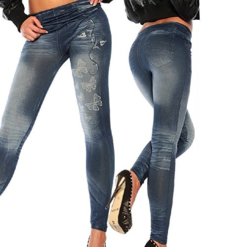 Femmes Leggings Jeans Pantalon Yoga de Sport Stretch Taille Haute Jeggings Bleu
