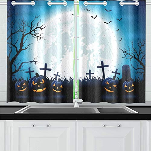 ight Blue Moon Kürbisse Küchenvorhänge Fenster Vorhangebenen für Café, Bad, Wäscherei, Wohnzimmer Schlafzimmer 26 x 39 Zoll 2 Stück ()