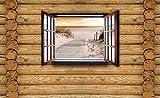 Tapeto Fototapete - Ausblick Hütte Strand Weg Sand See - Vlies 368 x 254 cm (Breite x Höhe) - Wandbild Holzbalken
