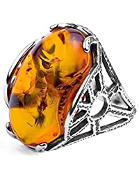 Baltic Honey Amber Sterling Silver Art Deco Oval Ring