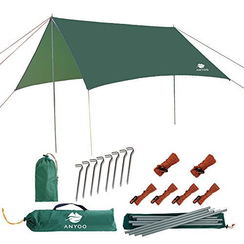Anyoo ripstop rain tarp beach tenda amaca fly parasole 3 ¡Á 3 m shelter impermeabile leggero per l'escursione camping backpacking pali stakes incluso