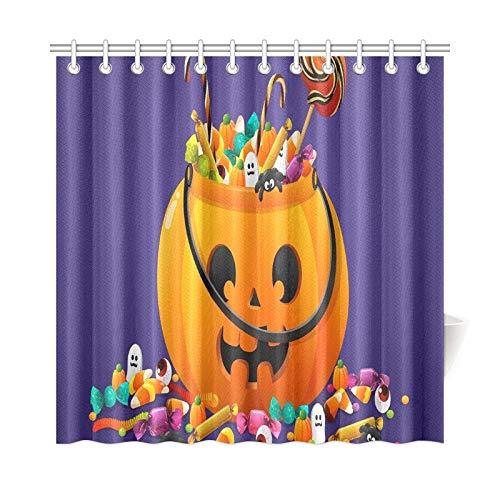 JOCHUAN Wohnkultur Bad Vorhang Halloween Kürbis Korb Voll Bonbons Süßigkeiten Polyester Stoff Wasserdicht Duschvorhang Für Badezimmer, 72X72 Zoll Duschvorhang Haken Enthalten