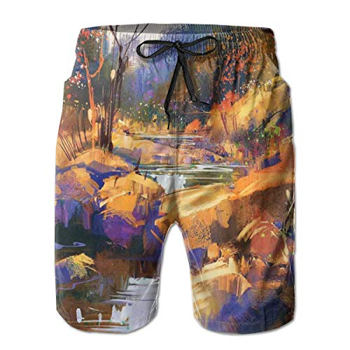 jiger Mens Beach Shorts Swim Trunks,Dreamy Environment with Water In Bedrocks Artful Spring Scene Tan Orange,Summer Cool Quick Dry Board Shorts Bathing SuitL