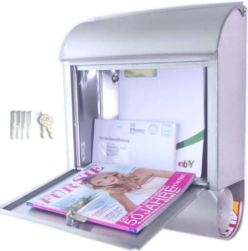 Preisvergleich Produktbild Edelstahl Briefkasten mit Zeitungsrolle,  Maße 39, 5x14x46cm,  Original Made for us®