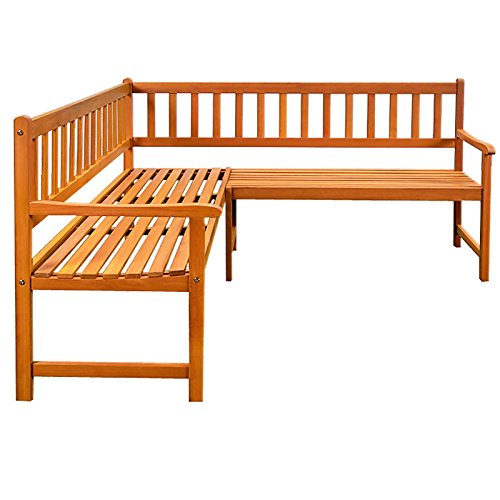 Wooden Corner Bench Garden Patio Park Furniture Outdoor Eucalyptus Hardwood Seater