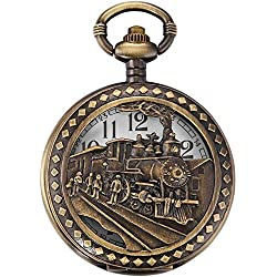 AMPM24 Skeleton Mens Steam Train Copper Dangle Pendant Quartz Pocket Watch with Chain + AMPM24 Gift Box WPK100