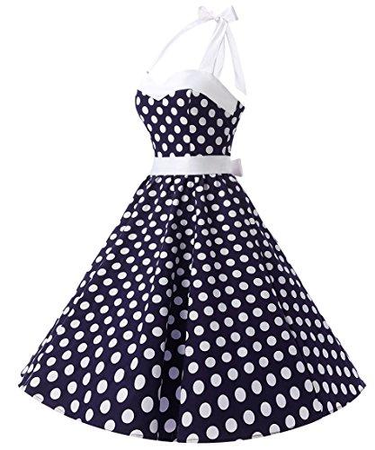 Dresstells Version3.0 Vintage 1950's Audrey Hepburn pin-up robe de soirée cocktail style halter années 50 à pois Bleu Foncé-Blanc