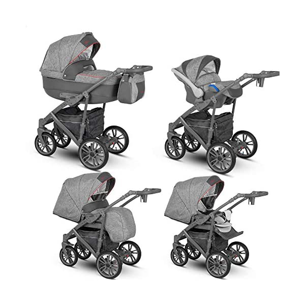 Lux4Kids Stroller Pram 2in1 3in1 Isofix Car seat 12 Colours Free Accessories OVE Grey Red VEO-5 4in1 car seat +Isofix Lux4Kids Lux4Kids Leo 3in1 or 2in1 pushchair. You have the choice whether you need a car seat (baby seat certified according to ECE R 44/04 or not). Of course the car is robust, safe and durable Certificate EN 1888:2004, you can also choose our Zoe with Isofix. The baby bath has not only ventilation windows for the summer but also a weather footmuff and a lockable rocker function. The push handle adapts to your size and not vice versa, the entire frame is made of a special aluminium alloy with a patented folding mechanism. 1