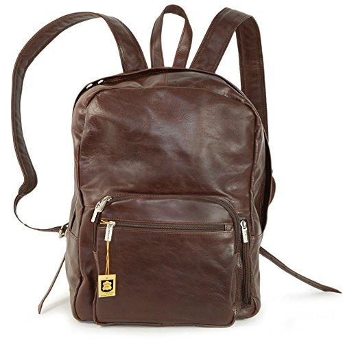 Großer Lederrucksack Größe L/Laptop Rucksack bis 15,6 Zoll, für Damen und Herren, aus Echt-Leder, Kastanien-Braun, Hamosons 514
