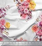 Soimoi Weiß Seide Stoff Blätter, Rose & Pfingstrose