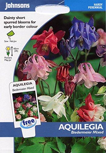 Johnsons Samen, Bildhaftes Paket Blume Akelei Biedermeier Mischung 100 Samen