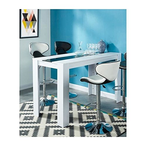 DAMIA Table a manger haute 4 a 6 personnes 150x70 cm - Blanc et noir
