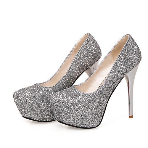 YE Stiletto High Heel Geschlossen Pumps mit Pleateau Glitter Pailletten Elegante Party Schuhe Silver