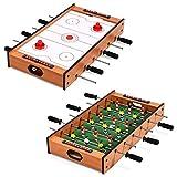 COSTWAY 2 en 1 Mesa Multijuegos Mesa de Futbolín y Hockey Juego de Mesa para Niño Adulto Regalo Fiesta Bar