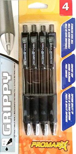 promax-grippy-10-retractable-pen-black-ink-de-agarre-pack-de-4