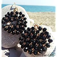 Magie di Trilli - Orecchini pendenti cristalli neri artigianali - Idea regalo