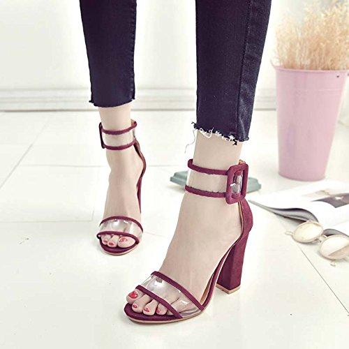 Zormey Frauen Sandalen Plattform Gladiator High Heels Klare Dornschließe Armband Frühling Sommer Sexy Schuhe Woman Fashion Schwarz Blau #Y 0606739 Q Wein Rot (Schuhe Sexy Gold Erwachsene)