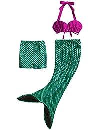 Pettigirl 3Pcs Bañador Sirena Disfraz Princesa Bikini Niñas