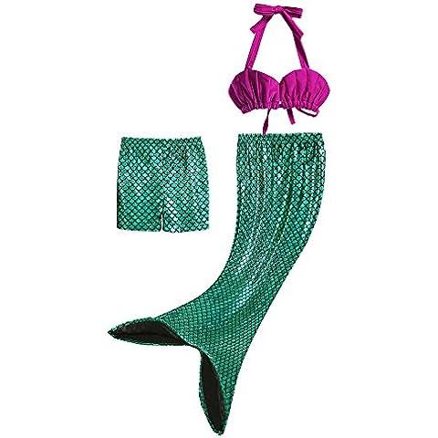 Pettigirl 3Pcs Bañador De Sirena Disfraz De Princesa Bikini Pantalones Cortos Falda Como Cola De Sirena Para
