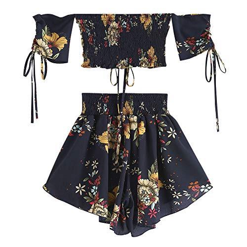 Zaful due pezzi costume da bagno top beachwear casual stampa floreale senza spalline per donna 2019 (blu, s (eu.36))