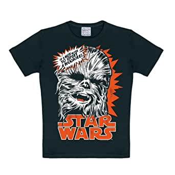 star wars t shirt enfant chewbacca it 39 s not wise to upset a wookie noir 170 176 amazon. Black Bedroom Furniture Sets. Home Design Ideas